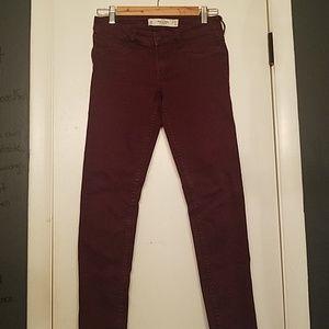 Burgandy Low Waist Jeans